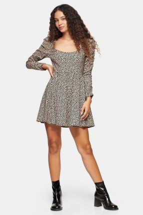 TOPSHOP Brown Stretch Animal Print Mini Dress Brown / long sleeve flared skirt day dresses - flipped