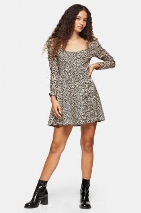 TOPSHOP Brown Stretch Animal Print Mini Dress Brown / long sleeve flared skirt day dresses