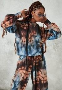 MISSGUIDED brown tie dye drawstring oversized hoodie / boxy pullover hoodies