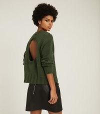 REISS CADY OPEN-BACK JUMPER GREEN ~ crew neck drop shoulder jumpers