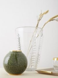 AERIN Calinda round 10kt gold-rimmed ceramic vase ~ round green vases ~ home accessories ~ stylish homeware