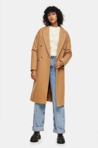 Topshop Camel Classic Double Breasted Coat