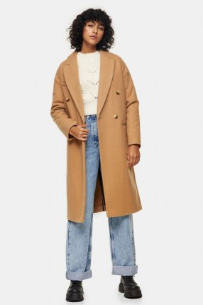 Topshop Camel Classic Double Breasted Coat - flipped