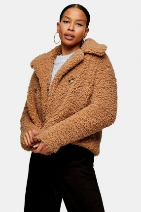 TOPSHOP Camel Crop Borg Jacket