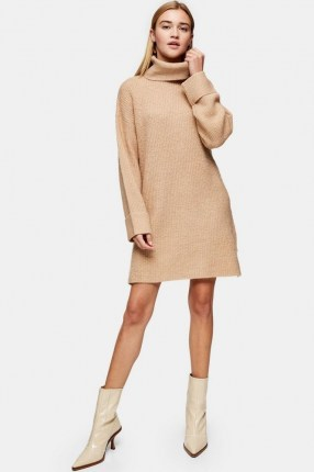 Topshop Camel Plaited Funnel Neck Knitted Dress | neutral roll neck sweater dresses