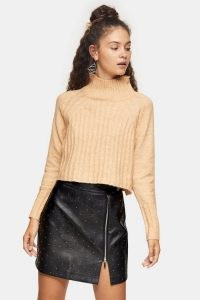 Topshop Camel Ribbed Cropped Funnel Neck Knitted Jumper | neutral high neck jumpers