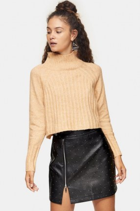 Topshop Camel Ribbed Cropped Funnel Neck Knitted Jumper | neutral high neck jumpers - flipped