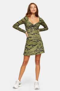 TOPSHOP Camouflage Print Twist Front Flip Dress Green / camo dresses / sweatheart neckline