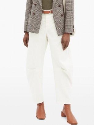 NILI LOTAN Carpenter pleated-leg cropped jeans in cream | neutral denim - flipped