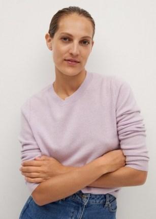 MANGO BAHIA 100% cashmere sweater | purple crew neck | casual luxe knitwear | knitwear - flipped