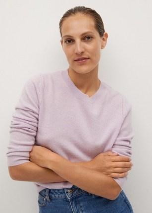 MANGO BAHIA 100% cashmere sweater | purple crew neck | casual luxe knitwear | knitwear