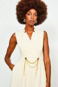 KAREN MILLEN Chain Detail Collar Wrap Midi Dress