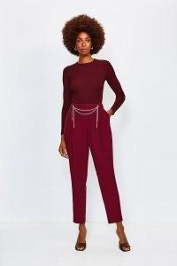 KAREN MILLEN Chain Detail Peg Trouser / embellished trousers