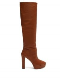 AQUAZZURA Chambord 120 leather knee-high boots ~ brown platform boots ~ winter footwear
