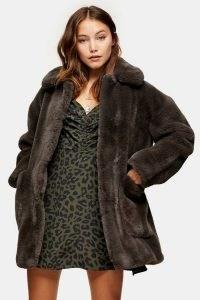 TOPSHOP Charcoal Grey Velvet Faux Fur Jacket