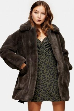 TOPSHOP Charcoal Grey Velvet Faux Fur Jacket - flipped