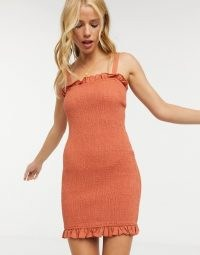Charlie Holiday Cha Cha mini dress in rust – orange brown shirred dresses