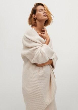 MANGO SANT Chunky knit cardigan | longline open cardigans | luxe style knitwear | ecru knits - flipped