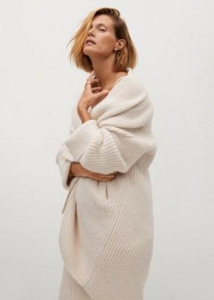 MANGO SANT Chunky knit cardigan | longline open cardigans | luxe style knitwear | ecru knits