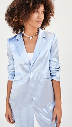 Cinq a Sept Kylie Blazer Cloudy Day / blue blazers / satin style jacket / jackets with a sheen - flipped