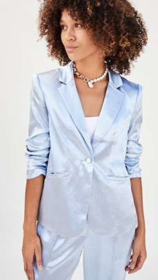 Cinq a Sept Kylie Blazer Cloudy Day / blue blazers / satin style jacket / jackets with a sheen