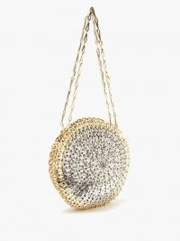 PACO RABANNE Circle Skyline 1969 chainmail shoulder bag / circular evening bags / round metallic event bag