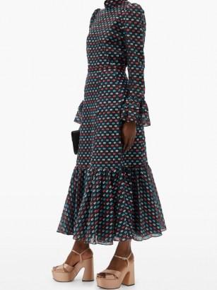ERDEM Claudena high-rise polka-dot organza midi skirt ~ printed ruffle hem skirts - flipped