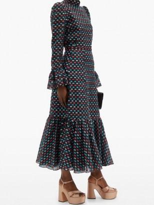 ERDEM Claudena high-rise polka-dot organza midi skirt ~ printed ruffle hem skirts