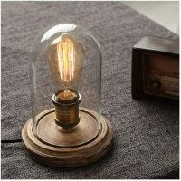 Clear Glass Table Lamp, Wood Base Desk Accent Lamp