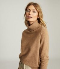 REISS COLETTE WOOL CASHMERE BLEND ROLL NECK CAMEL ~ casual luxe knitwear ~ high neck jumpers ~ light brown jumper