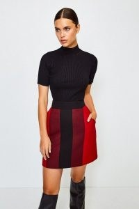 KAREN MILLEN Colour Blocked A-Line Skirt / colour block skirts