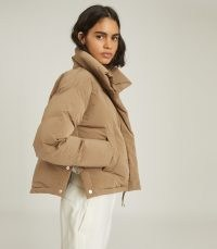 REISS COREY PUFFER JACKET WITH FUNNEL NECKLINE ~ stylish padded jackets ~ casual winter outerwear