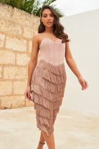 LAVISH ALICE corset bandeau fringe midi dress in mink – strapless evening dresses – fringed party wear