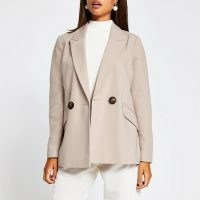RIVER ISLAND Cream double breasted cuffed blazer – blazers – jackets