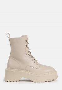 MISSGUIDED cream lace up chunky sole ankle boots ~ thick sole combat boot