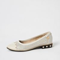 River Island Cream perforated studded ballet shoes WF | wide fit ballerinas | low faux pearl embellished heel