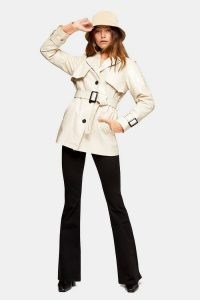 Topshop Cream Vinyl Belted Shacket | trench style shackets | glossy jackets