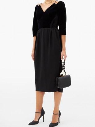 VIKA GAZINSKAYA Cropped-sleeve velvet midi dress ~ LBD ~ formal little black dresses - flipped