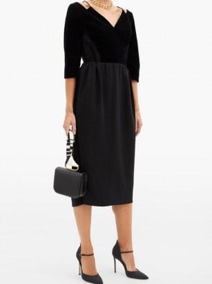 VIKA GAZINSKAYA Cropped-sleeve velvet midi dress ~ LBD ~ formal little black dresses