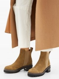 SEE BY CHLOÉ Crosta chunky-sole suede chelsea boots ~ brown thick-sole boot