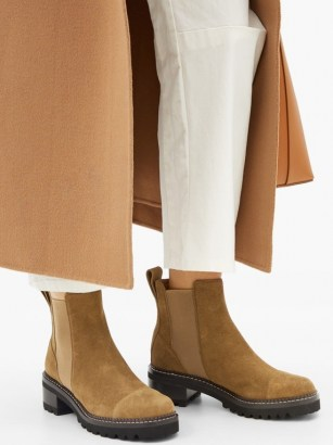 SEE BY CHLOÉ Crosta chunky-sole suede chelsea boots ~ brown thick-sole boot - flipped