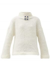 CHRISTOPHER KANE Crystal-embellished wool-blend sweater / cream funnel neck sweaters / luxe knitwear
