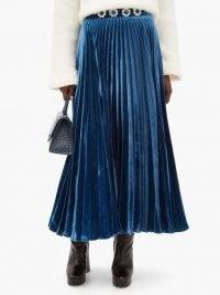 CHRISTOPHER KANE Crystal-flower pleated velvet maxi skirt / blue embellished waist skirts