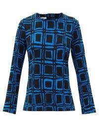MARNI Cubic-print cotton-blend blouse / large check prints
