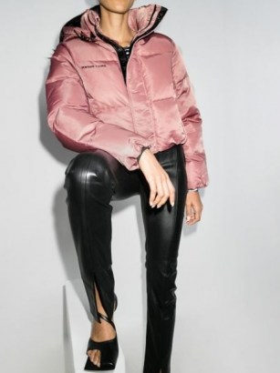 Daily Paper cropped puffer jacket in pink   stylish padded winter jackets - flipped