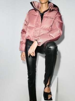 Daily Paper cropped puffer jacket in pink   stylish padded winter jackets