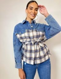 FOREVER UNIQUE Denim Checked Shacket / mixed fabric shackets