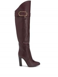 Dolce & Gabbana buckle detail knee-high boots / burgundy leather block heel boots