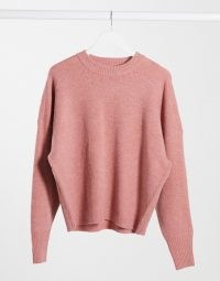 Dr Denim Lizzy knitted jumper in blush pink   crew neck jumpers