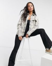 Dr Denim Nathalie check shirt in cream / casual relaxed fit checked shirts